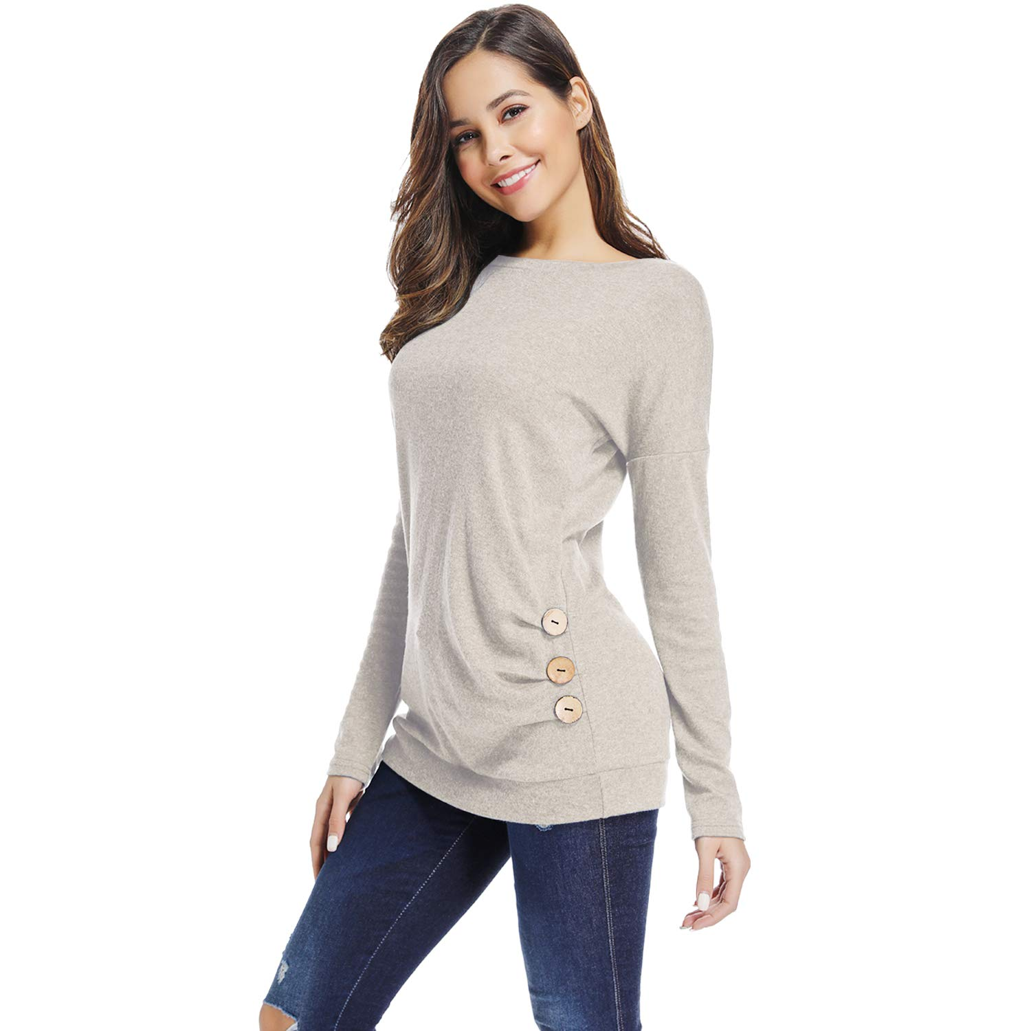 67776eb903478 Sunfung Women s Casual Long Sleeve Clothing Round Neck Loose Tops Tees Blouses  Tunics at Amazon Women s Clothing store