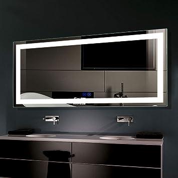 Amazon Com Smart Bathroom Mirror Led Mirror Lights For Vanity Wireless Wall Mounted Bathroom Mirrors For Shower Lagre Bathroom Mirror For Wall With Light 60 X 28 In D Ck010 C Kitchen Dining