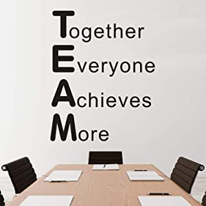 VODOE Quote Wall Decals, Inspirational Wall Decals, Office Motivational Teamwork Nursery Classroom Playroom Dorm Room Family Art Home Decor Vinyl Stickers Together Everyone Achieves More 21