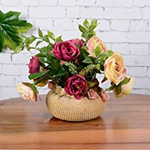 Lopkey Artificial Flower Rose Bonsai Silk Fake Rose Flower with Potted