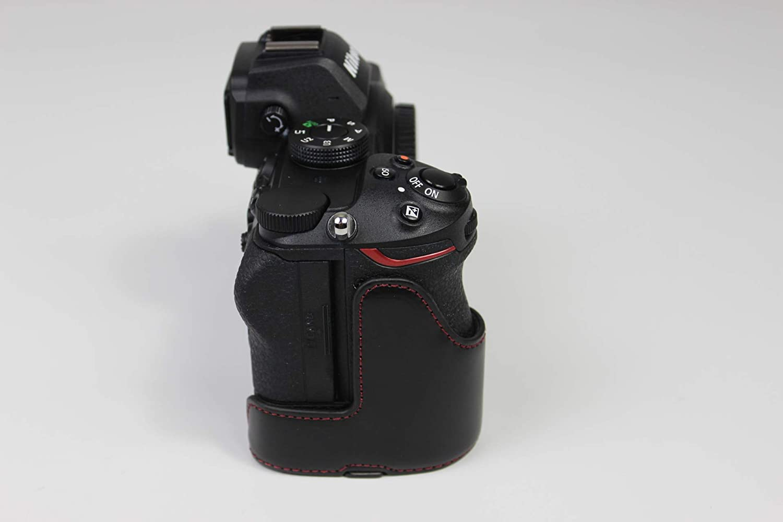 Custodia per fotocamera Z5 Z6 Z7 con apertura a mezza fondina Zakao colore: Nero per Nikon Z5 Z6 Z7 in pelle PU con cinturino da polso