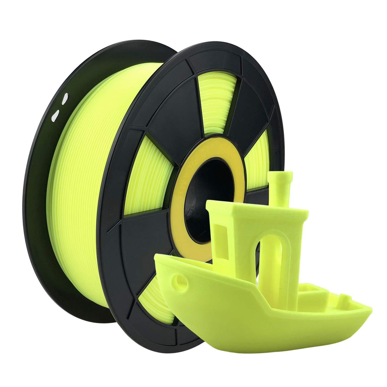 ZIRO PLA Filament 1.75mm,3D Printer Filament PLA Fluorescence Series 1.75 1KG(2.2lbs),Dimensional Accuracy +/- 0.03mm,Fluo Yellow