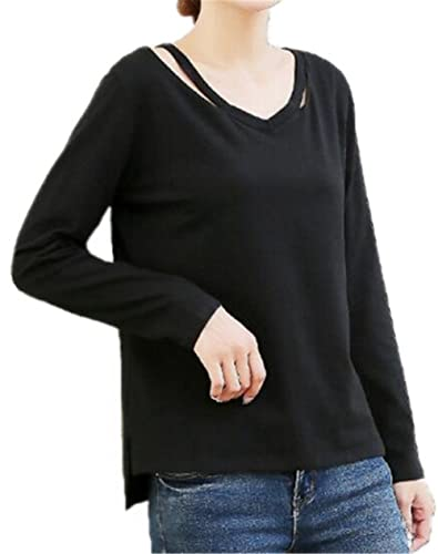Gogofuture Color SÓLido Tshirt Manga Larga Knitted Blusa Camiseta Casual Elegante Cuello V Para Muje...
