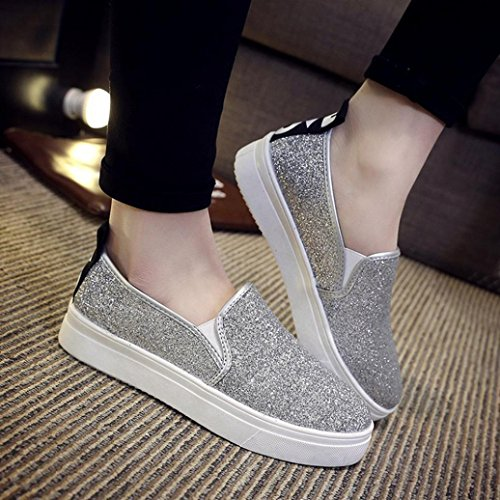 Casual Shoes Spring Silver Walk Slip Sequins Shoes Sikye Shoe Loafer Flat Lightweight Womens On qxRw7a4pX