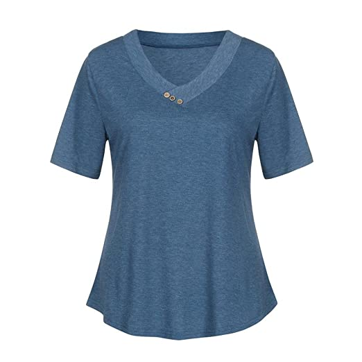2fdcf9880 Image Unavailable. Image not available for. Color: DIANA'S Blouse Women's V  Neck Short Cuffed Sleeve Summer Casual Henley Shirts