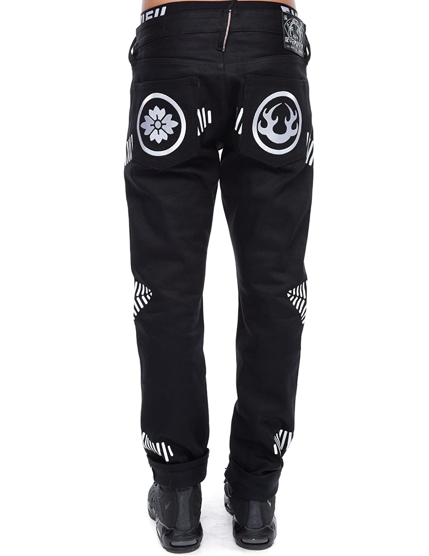 Vska Men Elastic Waist Classic Vintage Jogging Denim Loose Jeans Pants