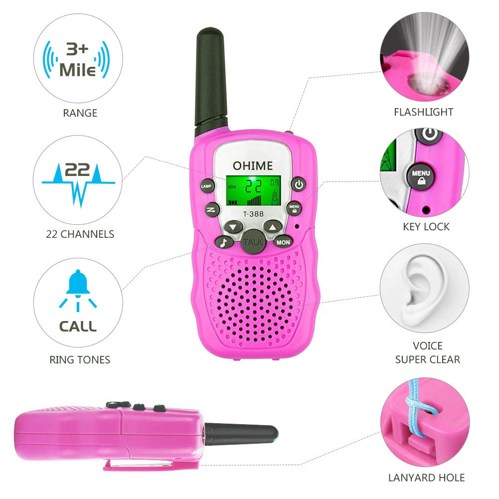 Ohime Kids Walkie Talkies,Cover 3 Miles Range with Backlit LCD Flashlight 22 Channels 2 Way Radio Toy Outdoor Adventures, Camping, Hiking,Party (YellowΠnk&Blue) by Ohime (Image #2)