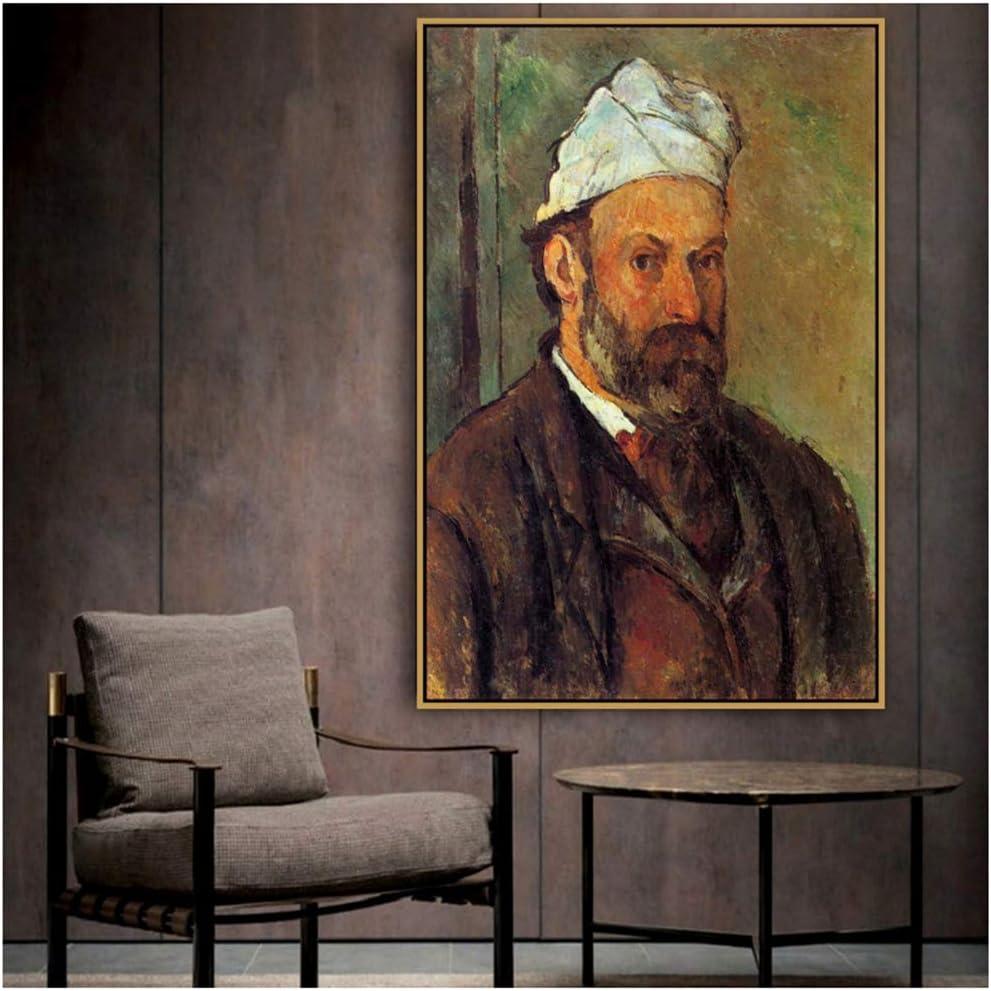 Paul Cezanne Viejo y famoso autorretrato de artista con un turbante blanco Pintura de lienzo Cartel e impresión para decoración Arte de pared -60x90cm Sin marco