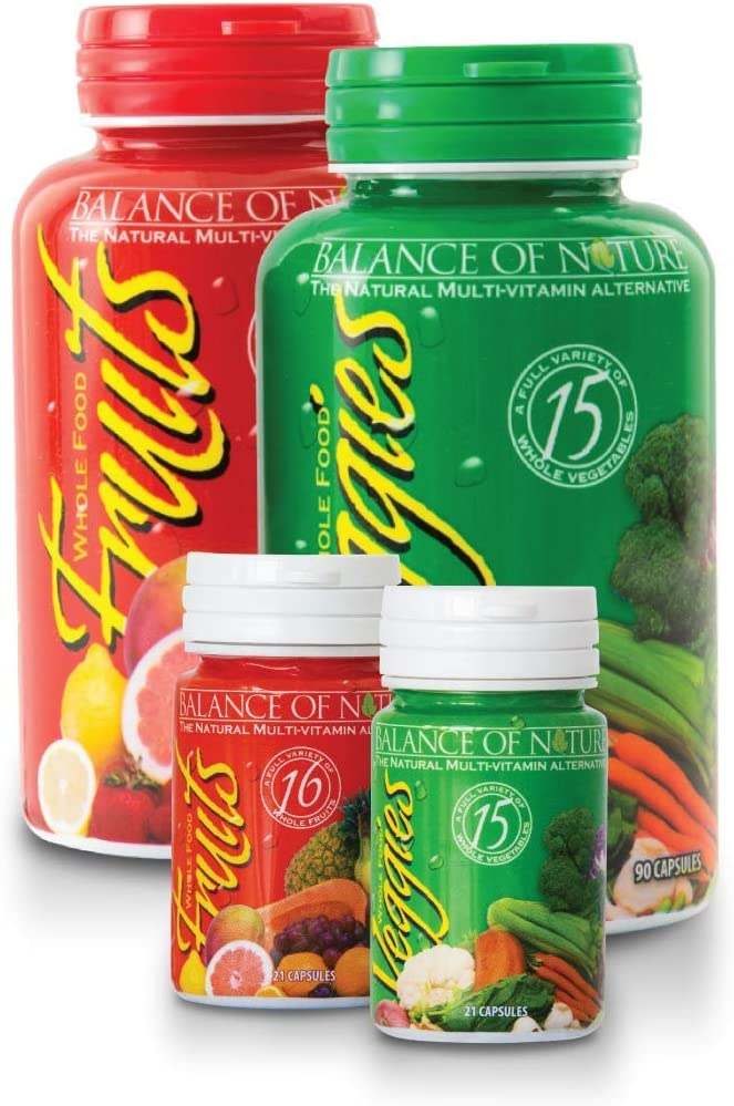 Balance Of Nature Fruits and Veggies Supplement Plus Travel Set Bundle - 1 Fruits & Veggies, 1 Travel Set - Superfood, Better Than A Multivitamin, No Fillers, No Extracts, 100% Natural Whole Food