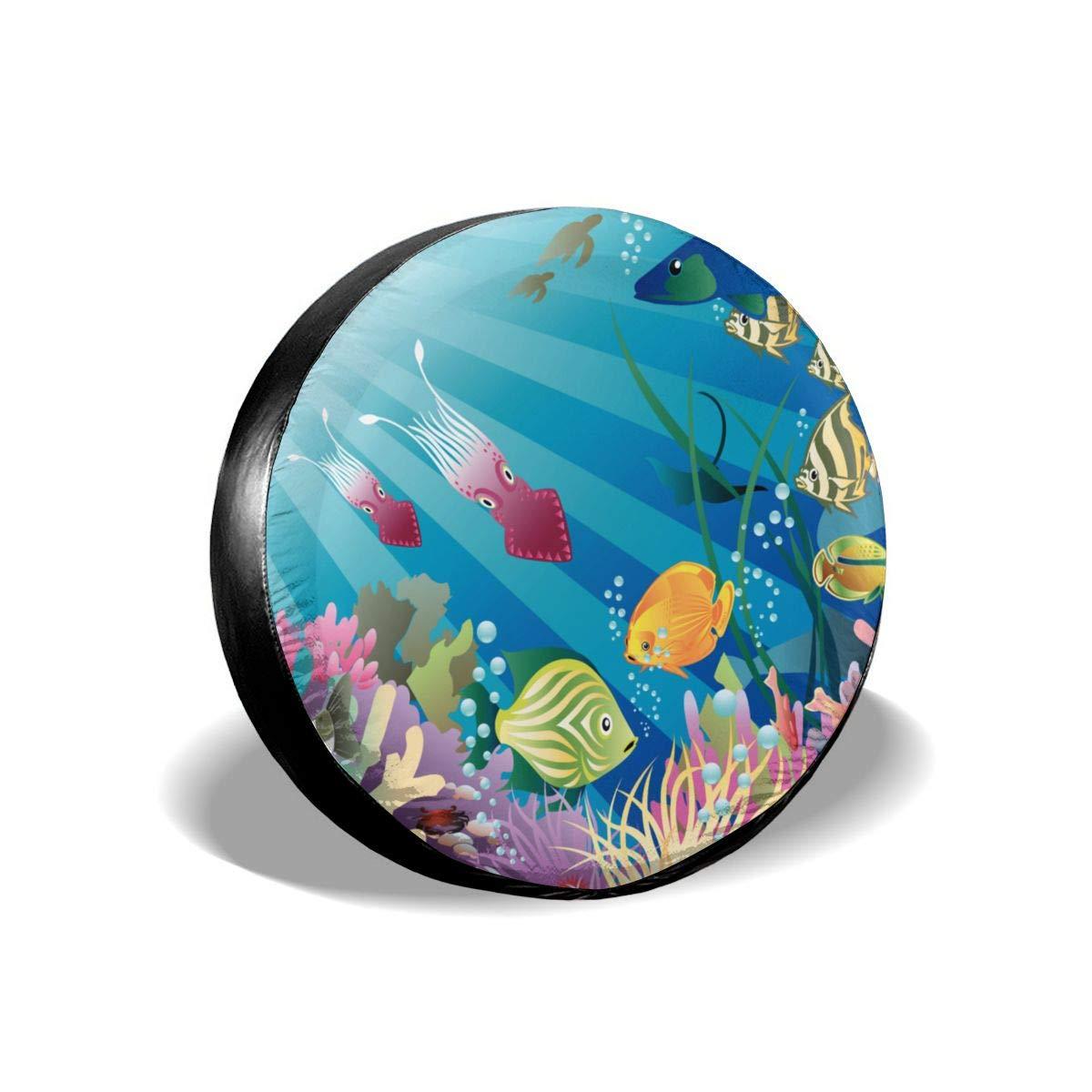 Pokuisnb Sunscreen Fish Tank Aquarium Alphabet Spare Tire Covers for All Cars 17 Inch