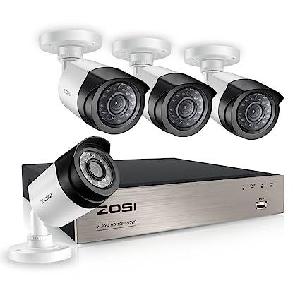 Sistema de Seguridad ZOSI 1080P 4 CH 4 Cámaras Kit de Vigilancia Seguridad para Hogar Grabador