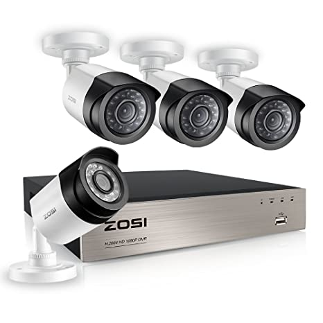 ZOSI 1080P CCTV Kit de Cámaras de Vigilancia 4CH 4-en-1 Grabador DVR + (4) Cámara de Seguridad Impermeable, sin Disco Duro, Visión Nocturna, Acceso ...