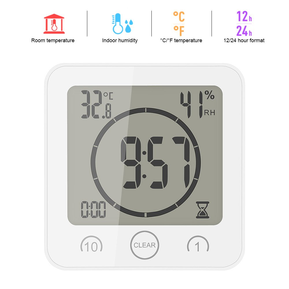 ALLOMN LCD Temperature Humidity Clock, Touch Control Timer Alarm, Waterproof Atomic Digital Wall Clock, Great Gift Choose for Various Festivals (Black)