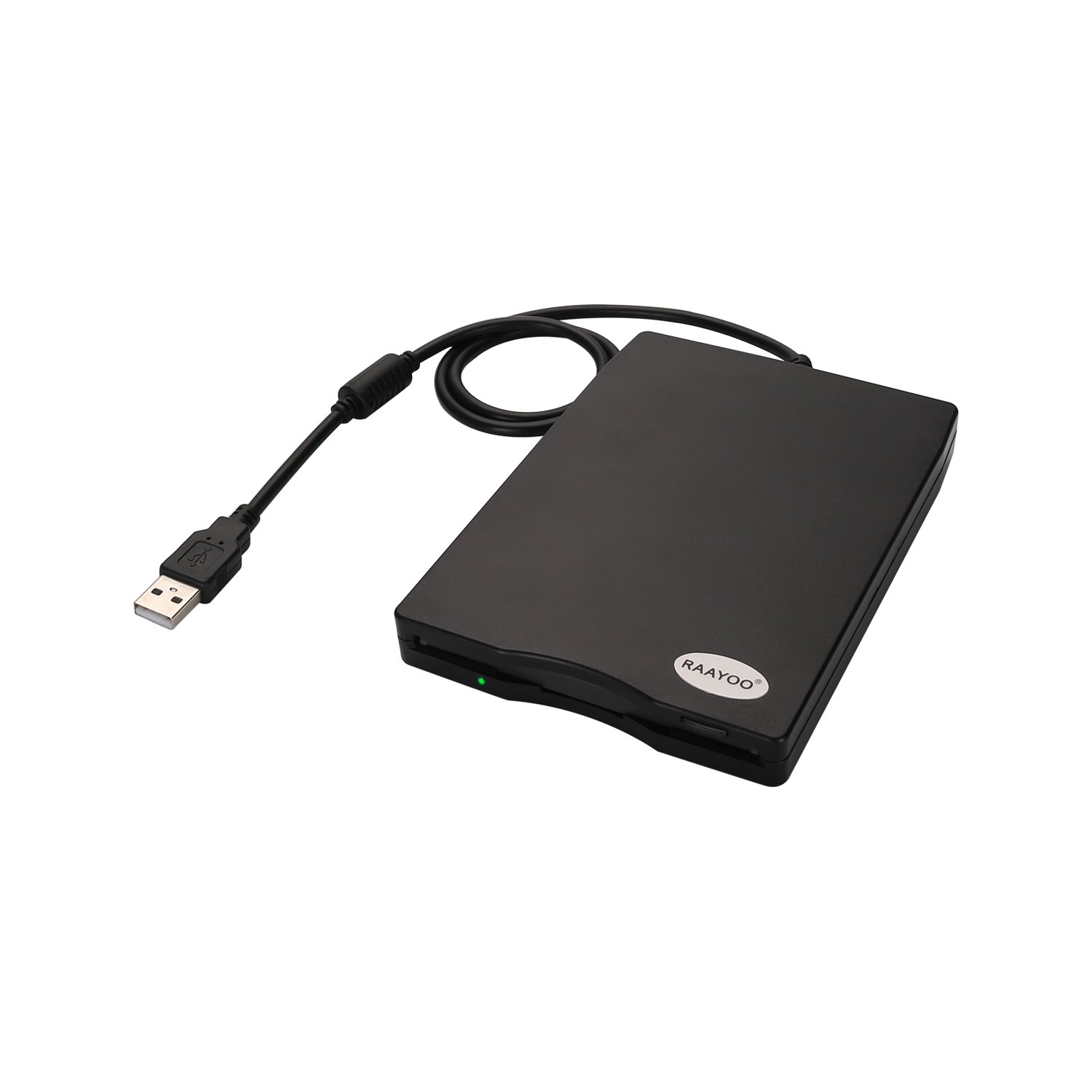 "RAAYOO USB Floppy Disk Reader Drive, 3.5"" External Portable 1.44 MB FDD Diskette Drive for Mac Windows 10/7/8/XP/Vista PC Laptop Desktop Notebook Computer Plug and Play No Extra Drivers– Black"