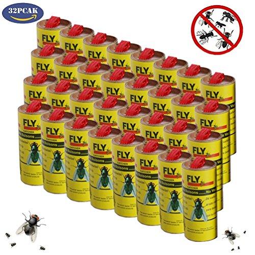 MIOVTV Fly Catcher Trap,Fly Trap,Fly Paper Ribbon,Fly Paper Strips,Fly Bait,Sticky Fly Ribbons,Sticky Fly Strips, Flying Killer-32PCS by MIOVTV