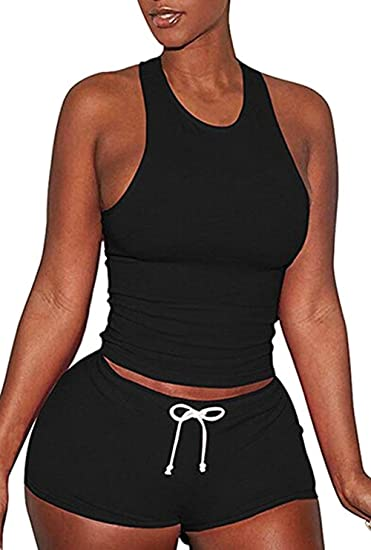 a92207fb6b8218 USGreatgorgeous Womens Sexy Tank Top and Shorts 2 Pieces Set Sports Yoga  Gym Suit Tracksuit at Amazon Women s Clothing store