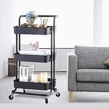 micoe 3-Tier Metal Storage Rolling cart with Practical Handle and ABS Storage Basket Black