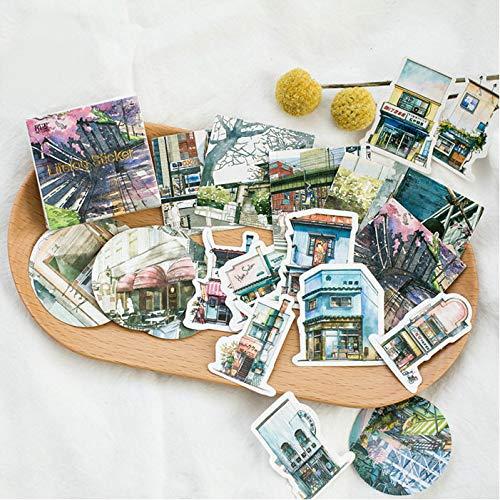 Yudanwin Moda unica Sticker decorativo paesaggio di viaggio per diario Album di pianificatore fai da te decorativo circa 45 pezzi