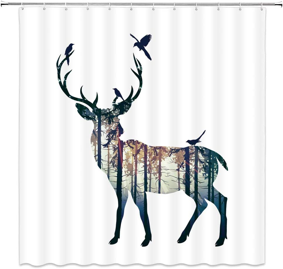 Beautiful Print Great Gift Stag With Forest And Birds