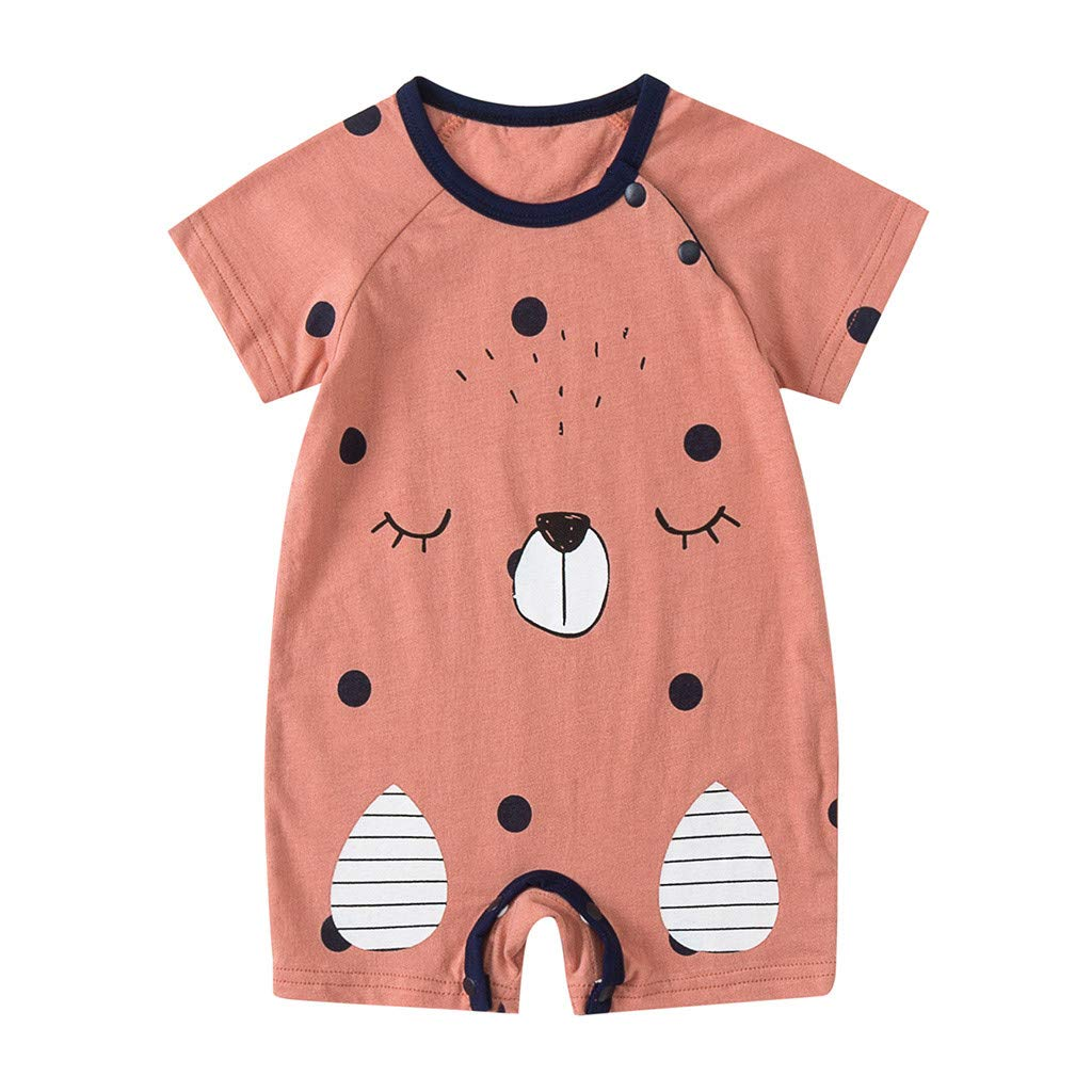NUWFOR Newborn Baby Boy Girls Cartoon Infant Rompers Jumpsuit Outfits Clothes(Yellow,9-12Months)