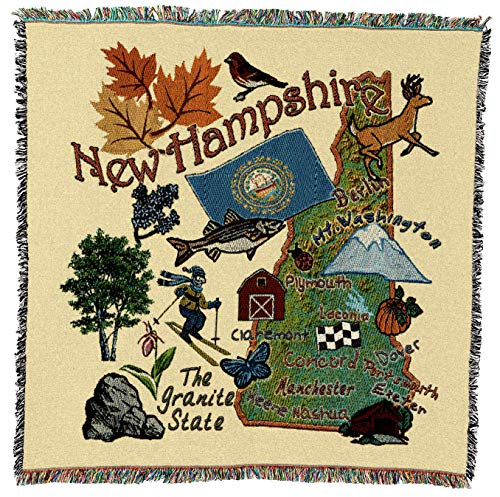 Pure Country Weavers - New Hampshire State Woven Throw Blanket with Fringe Cotton. USA Size 54x54