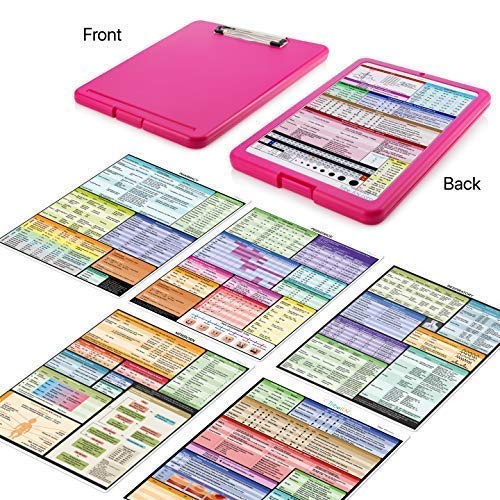 (ClinicalGuru Set by Tribe RN - Nursing Clipboard with Storage and Heavy Duty Cheat Sheets - Perfect Combo for Your Clinical Rounds - Also Includes Downloadable Cheat Sheets (Nurse Clipboard Pink))