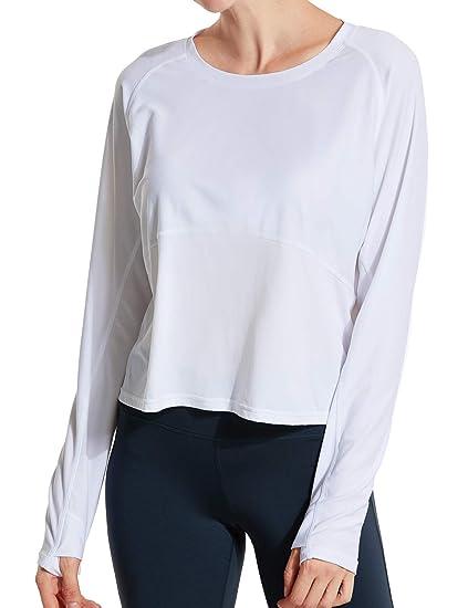 CRZ YOGA Femme T-Shirt de Sport à Manches Courtes en Manches Longue ... 1ae63593d4a