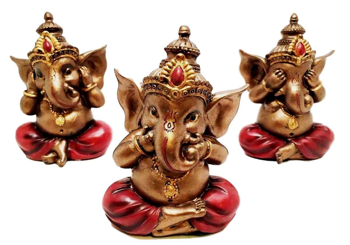 Ebros Hindu God Ganesh Set of Three Ganesha See Hear Speak No Evil Decorative Shelf Sitter Figurines Miniature Talisman Eastern Enlightenment Hinduism Gods and Goddesses Ganapati Deity