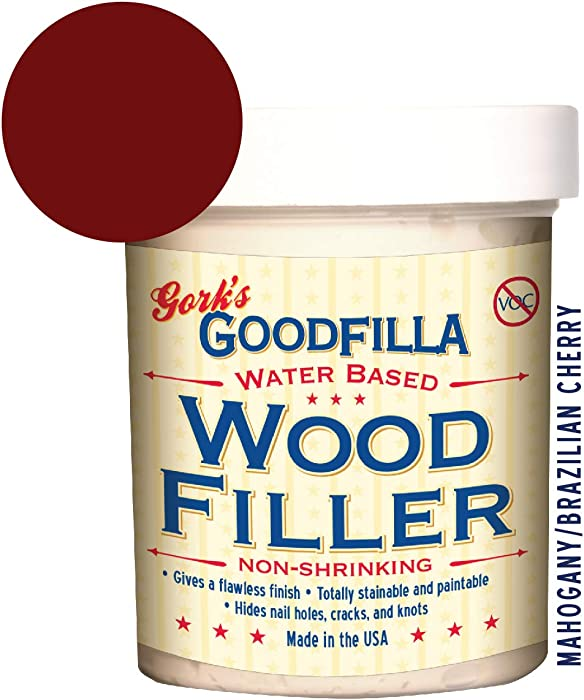 Water-Based Wood & Grain Filler - Mahogany - 8 oz by Goodfilla | Replace Every Filler & Putty | Repairs, Finishes & Patches | Paintable, Stainable, Sandable & Quick Drying