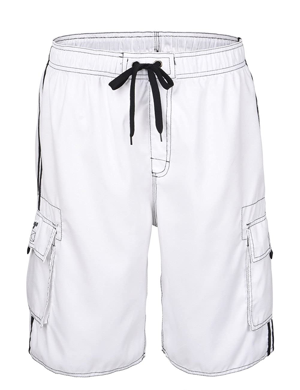 Hopgo Men's Quick Dry Beach Short Solid Color Boardshorts Swim Trunks with Mesh Lining HP-MK020900