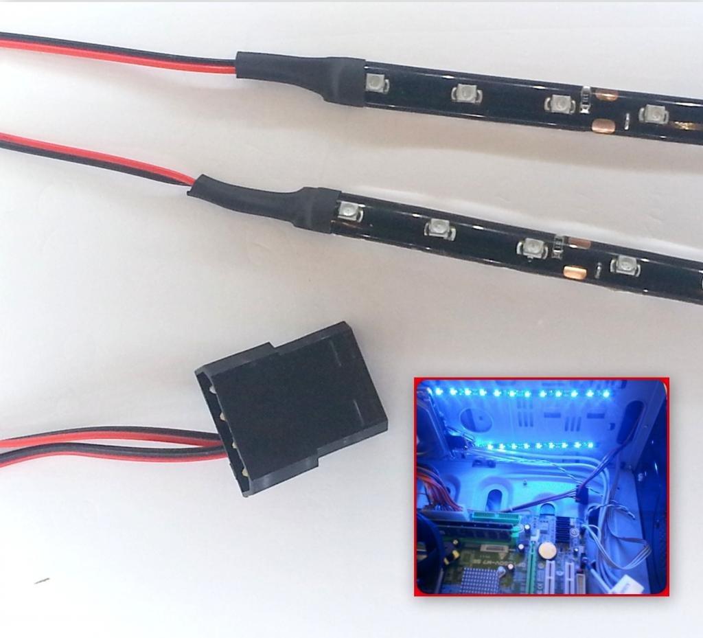 Hellblau Blau Topledshop Molex Set de lumi/ères LED pour bo/îtier PC 2-20 cm 40 cm Bleu