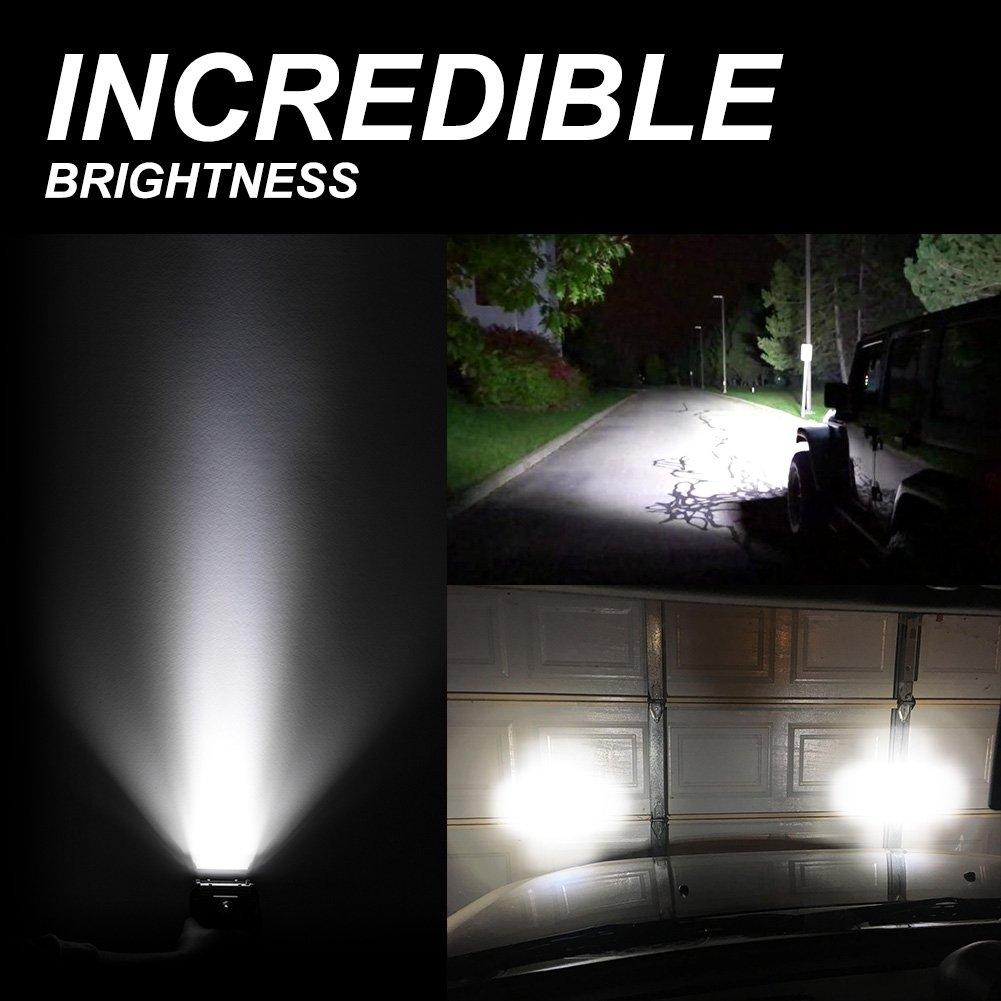 8 Pcs LED Pods 2 Years Warranty 4 14400LM Quad Row Spot Beam OSRAM LED Light Bar Work Light Pods Driving Fog lights for Truck Jeep ATV UTV SUV Boat Marine