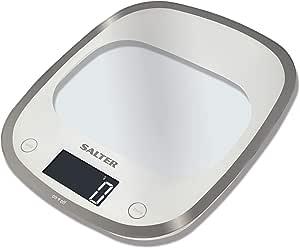 ميزان المطبخ رقمي إلكتروني زجاجي من سالتر 1050WHDR ، أبيض