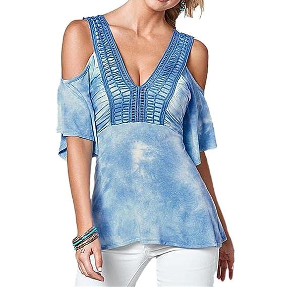 Blusas para mujeres, SHOBDW V-Collar atractivas del camiseta de manga corta de la