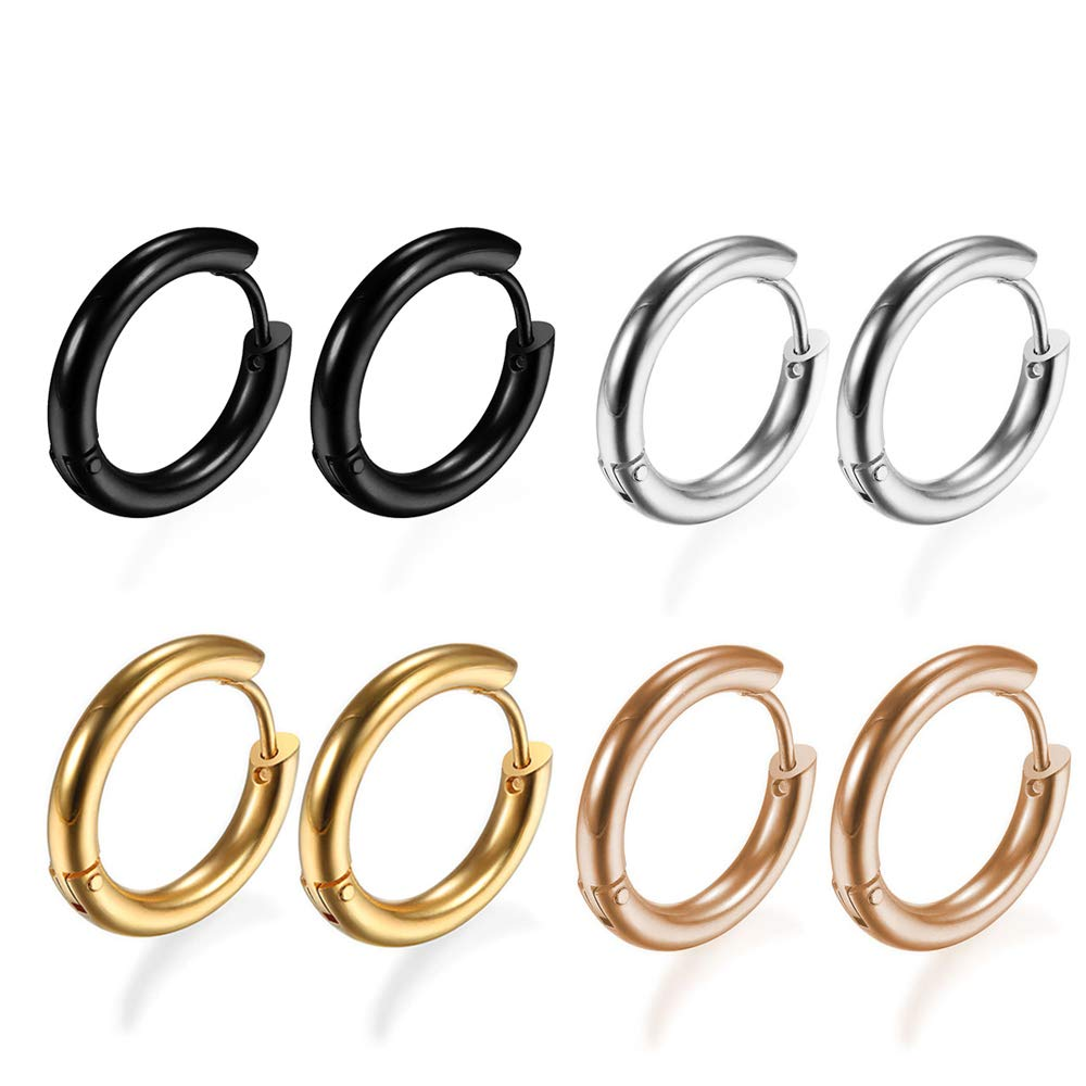 4Pairs 316L Surgical Stainless Steel Hoop Earrings Hypoallergenic 8mm Small Huggie Earrings Hoop Cartilage Helix Lobes Hinged Sleeper Earrings for Men Women by Gabry&jwl