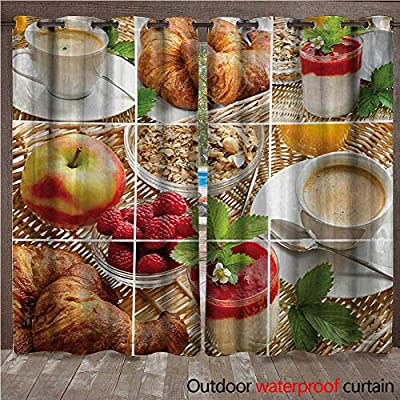 WilliamsDecor Kitchen Outdoor Ultraviolet Protective Curtains Breakfast with Coffee Croissants Orange Juice Fresh Strawberry Yogurt Oatmeal Photo