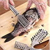 Saim Fish Scaler Remover, Stainless Steel Sawtooth,Fish Descaler Tool for Fast Fish Scales Removing Peeling, Silver 2PCS