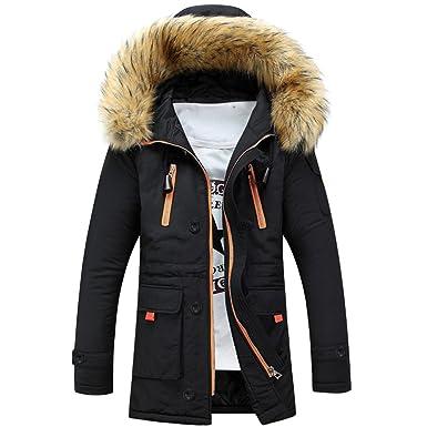 more photos 75920 137dc VENMO Unisex Damen Herren Outdoorjacke Wolljacke Warmer Winter Long Hood  Jacke Winter Baumwolle Wintermantel Faux mit Pelzkragen Kapuzenjacke ...