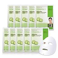 DERMAL Cucumber Collagen Essence Facial Mask Sheet 23g Pack of 10 - Soothing & Moisturizing, Redness & Sunburn Relief, Daily Skin Treatment Solution Sheet Mask
