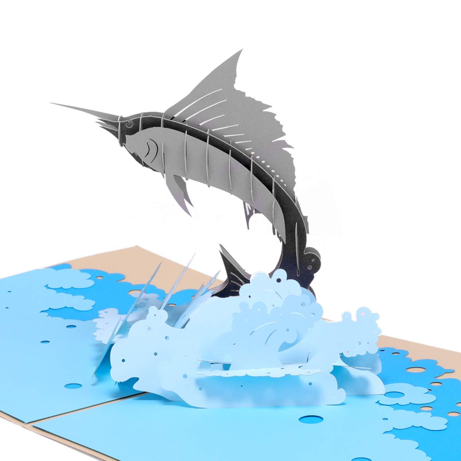 Paper Spiritz Swordfish Sailfish Pop up Card Birthday Congratulate Father's Day - 3D Greeting Card for All Occasions - Laser Cut Sympathy Thank you Graduation Card