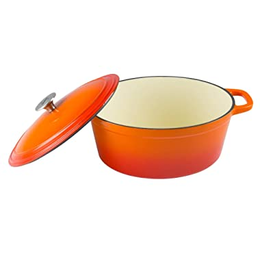Zelancio Cookware 6-Quart Enameled Cast Iron Oval Dutch Oven Cooking Dish with Skillet Lid, Tangerine Orange