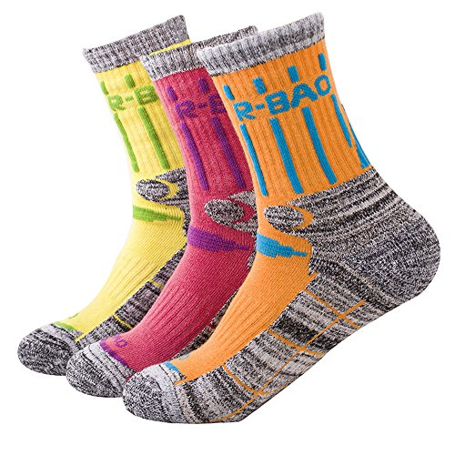 Kalily Outdoor Crew Cushioned Socks for Women - Pack of 3 Pairs (6 Pieces) (5-9, Set 3) ()