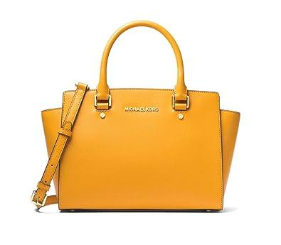dfd20b534d5f MICHAEL MICHAEL KORS Selma Saffiano Leather Medium Satchel (Marigold)   Handbags  Amazon.com