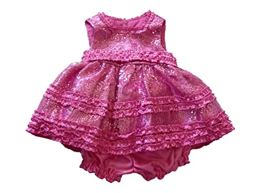 Amazon.com: American Princess Infant Girls Sparkly Pink Satin ...