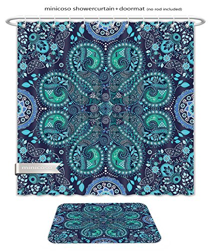 Minicoso Bath Two Piece Suit: Shower Curtains and Bath Rugs Blue Indian Seamless Pattern Fantasy Ornamental Wallpaper Shower Curtain and Doormat - Blush Versace