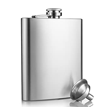 Petaca, innislink Petaca de Acero Inoxidable con Tapón de Rosca, Frasco de la Cadera con un Práctico Embudo para Almacenar Whisky y Alcohol 8oz/227ml ...
