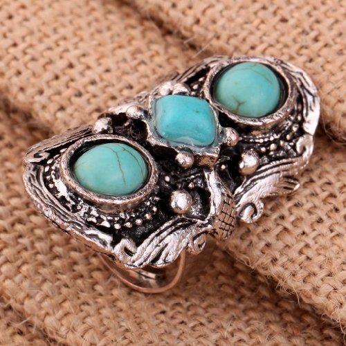 Yazilind bijoux cru rimous argent rond tibetain ethnique turquoise saisissant anneau reglable