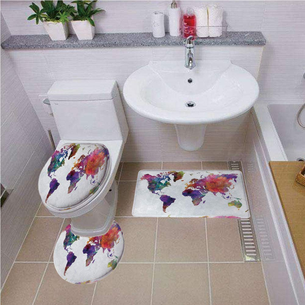 Bath mat Set Round-Shaped Toilet Mat Area Rug Toilet Lid Covers 3PCS,Watercolor,Multicolored Hand Drawn World Map Asia Europe Africa America Geography Print Decorative,Multicolor,Printed Rug Set