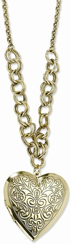 Goldia Brass-Tone Heart Locket on 28 Necklace