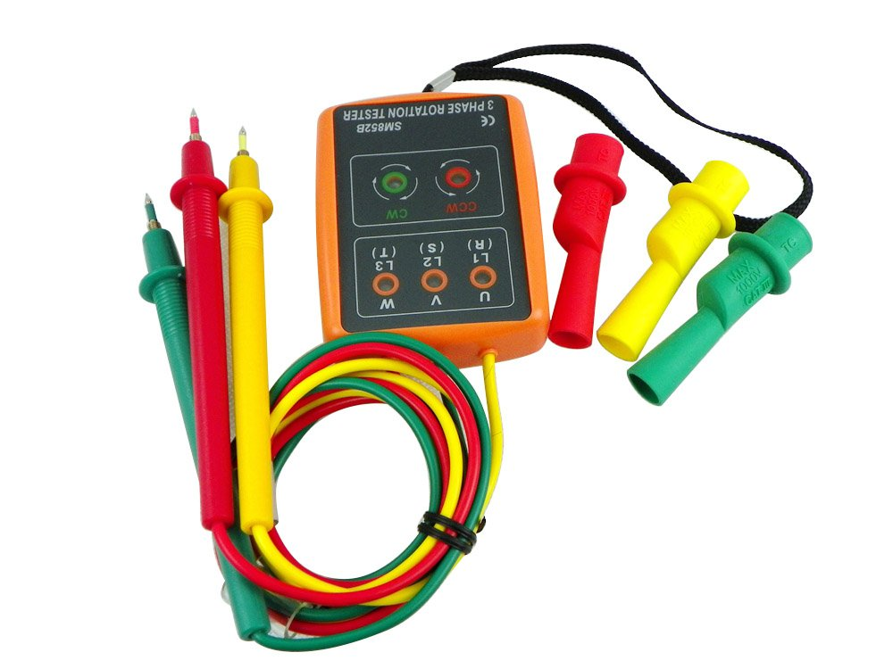 Leaton® 3 Phase Sequence Presence Rotation Tester Indicator Detector Meter With LED And Buzzer Tester Phase Indicator 60V~600V AC(3 phase AC)